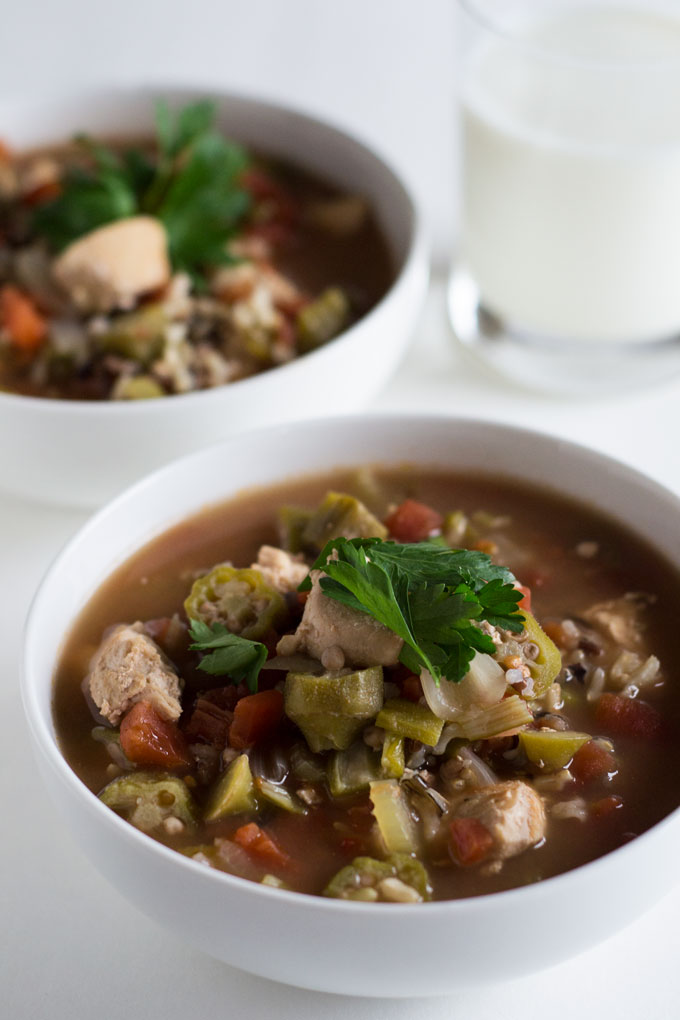 This easy chicken gumbo is the perfect quick family meal when you're craving a bowl of hot, steamy soup. It's ready in just 45 minutes from start to finish!